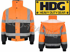 2 Tone Orange Hi Viz Vis Waterproof Storm Padded Work Wear Jacket Coat