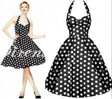 Black Vintage Rockabilly Polka Dot Retro Swing 50s 60s pinup Housewife Dress