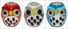 Handmade European Style Murano glass owls bead with 925 Sterling Silver tube