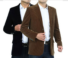 New Mens Cord Corduroy Blazer Suit Jacket single-breasted trench slim coat