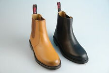 Mens New Black/Tan Brown Leather Chelsea Dealer Boots With Leather Soles 7 - 12