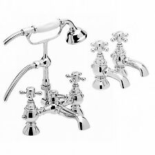 Bathroom Filler Tap with Shower + Hot Cold Twin Basin Tap Pack Set BELGRAVIA