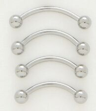 PLAIN SURGICAL STEEL CURVED NIPPLE EYEBROW BELLY BAR BARBELL 16G BODY PIERCING.