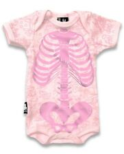 Six Bunnies Baby Girl Skeleton Tattoo Onesie Punk Costume Ribs Romper Bodysuit