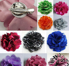 New Lady Blooming Flower Brooch Hair Pins Fat Ring Clip Matching Accessory Silk