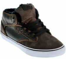 Globe Motley Mid Chocolate White Fur Leather Mens Skate Trainers Shoes Boots