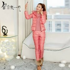 3PCS Women's Coat Winter Warmest Down Jacket Outfits Pants Sets Suits 5 Colors