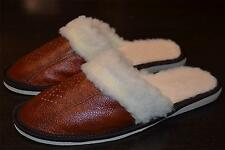 Ladies Womens Natural Leather Slippers Shoes Sandal Sheep Wool Brown From Poland