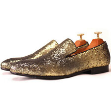 Casual Mens Gold Sequins Leather SLIP-ON Apron Toe Loafer dress Shoes