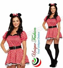 SEXY LADIES MINNIE MOUSE ADULT MOUSE COSTUME FANCY HEN NIGHT DRESS OUTFIT RED