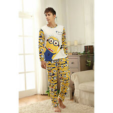 New Cool Mens Male Despicable Me 2 Minion Long Top Trousers Set Pyjamas Pajamas