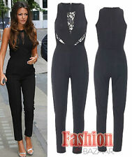 Womens Celebrity Michelle Keegan Lace Insert Zipped Jumpsuit Dress All In One