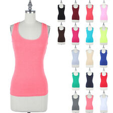 Cotton Basic Racerback Sleeveless Tank Top Scoop Neck Fitted Easy Wear S M L