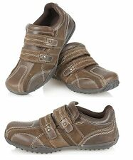 Boys Real Leather Sude Trainers Casual Velcro Pumps Kids Shoes Size