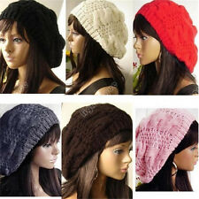 Fashion Women Warm Winter Beret Braided Baggy Beanie Knitted Crochet Hat SKI Cap