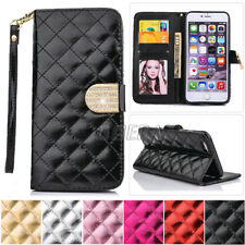Premium Glossy PU Leather Handbag Wallet Case Cover +Bling Rhinestone For iPhone