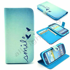 Smile Flip Leather Wallet Card Holder Case Rubber Stand Cover For Various Phones