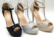 NEW Chase & Chloe V1 Womens PROM PAGEANT WEDDING Silver Glitter Platform T Shoes
