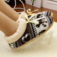 Women's Lovely Woolen Cute Snowflake Deer Winter Warm Soft Home Floor Slippers