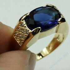Size 9-11 Antique Jewelry Mens Sapphire 10KT Yellow Gold Filled Band HI-Q Ring