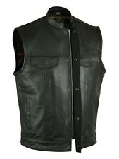 MEN'S MOTORCYCLE SON OF ANARCHY STYLE LEATHER VEST W/GUN POCKETS, ZIPPER NAKED