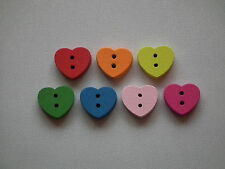 7, 50 or 150, 15mm, Small Wooden Heart Buttons. Assorted Colours (B04)