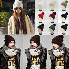 Unisex Women Mens Casual Warm Autumn Winter Hats Knit Beanie Hat Hip-Hop Ski Cap
