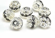 Rhinestone ball bead, somber rhinestone, silver plated, 6-10mm, ball bead