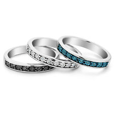 Black OR Blue OR White Diamond Ring in Sterling Silver