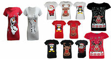 Womens Plus Size Christmas Xmas Glitter Olaf  Reindeer Penguin T Shirt Tops UK