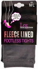 NEW LEG IMPRESSIONS FLEECE LINED FOOTLESS TIGHTS