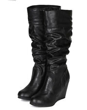 City Classified Escort New Women Round Toe Calf High Slouchy Riding Wedge Boot