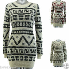 NEW Ladies Knitted Jumper Dress Soft Fluffy Eyelash Aztec Abstract Womens size