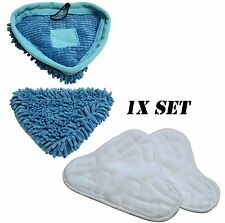NEW WASHABLE MICROFIBER & CORAL VELCRO REPLACEMENT PADS FOR STEAM MOP H20 X5