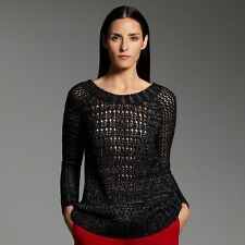 $64 Classy Narciso Rodriguez for DesigNation Marled Open-Work Sweater XS, M