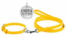 Leather Dog Collar Leash Set Puppy Extra Small Miniature Toy Breeds Cat FREE TAG