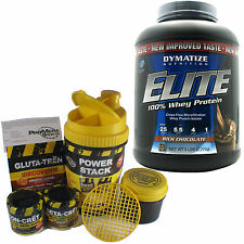 Elite  Whey, Dymatize, 5 Lbs., 100%  Whey Protein, + ConCret Power Stack Shaker