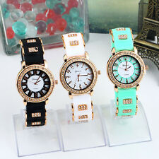 Bling Crystal Golden Women Girl Ladies Quartz Silicone Wrist Watch Strap HC