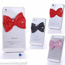 NEW 3D BOW BLING DELUX RED PINK BLACK DIAMANTE SPARKLE CASE COVER 4 IPHONE 5 5S