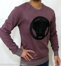 NEW WT MEN'S VERSACE LONG SLEEVE CLARET RED T-SHIRT LEATHER MEDUSA SWEAT-SHIRT