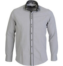 New Branded Guide London Double Collar Styled Mens Formal L/S Shirt Grey