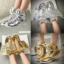 Womens Chic Wings Lace-up High Top Sneaker Heel Hidden Boot Flats Sports Shoes