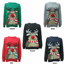 NEW MENS WOMENS ADULT SWEATER POM POM RUDOLPH XMAS CHRISTMAS REINDEER JUMPER