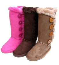 New Black Brown Pink Girls'Cute Winter Faux Fur Button Mid Calf Boots Size 10-4