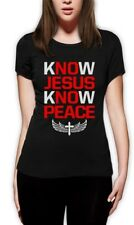 Know Jesus Know Peace Women T-Shirt Christian Quote Faith Cross Belive Christmas