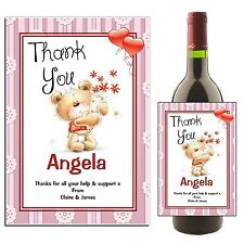 Personalised Wine Champagne Bottle Label THANK YOU N42 ~ Great Gift Idea