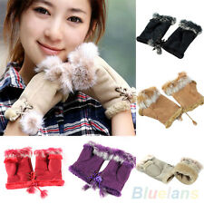 Casual Womens Rabbit Fur Leather Suede Winter Fingerless Gloves High Quality!