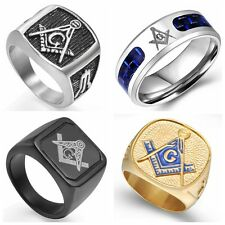 7-15 Men Masonic Ring Stainless Steel Vintage Master Silver Black Gold Valentine