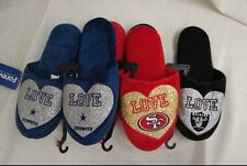 NFL Forever Collectibles Ladies Love Glitter Slide Shoes Slippers
