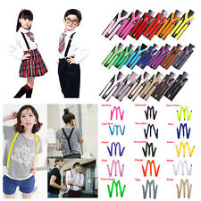 Hot 15 Colors Mens Womens Clip-on Suspenders Elastic YShape Adjustable Braces